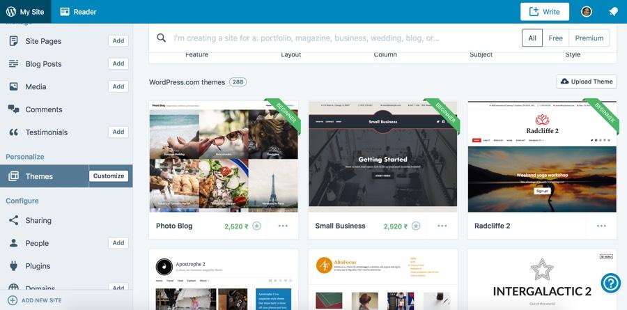 create a blog with wordpress.com- change your theme