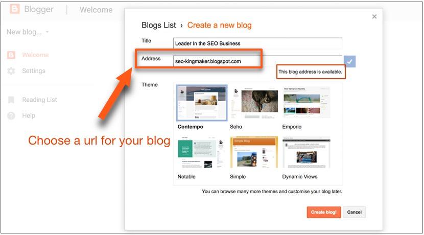 choose a url - create a blog with blogspot